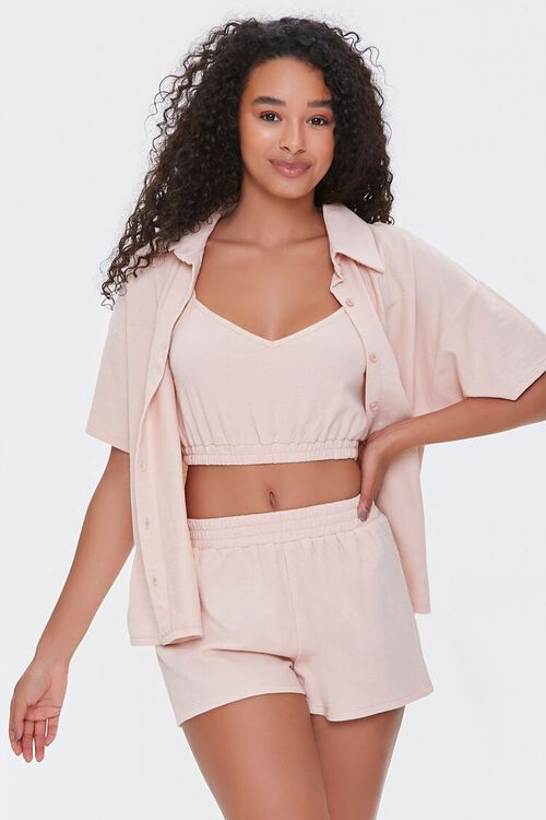 Terry Cloth Shirt Cami & Shorts Set, image 1
