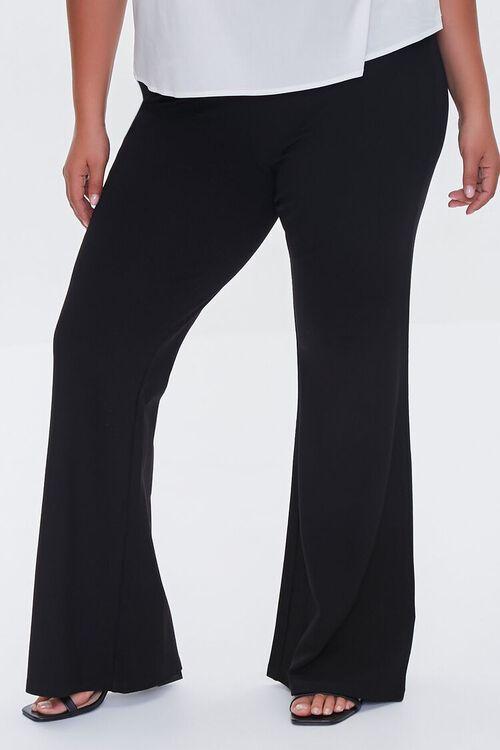 BLACK Plus Size Ponte Knit Flare Pants, image 2