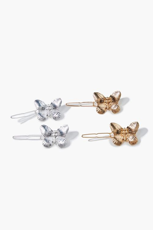 SILVER/GOLD Butterfly Hair Clip Set, image 1
