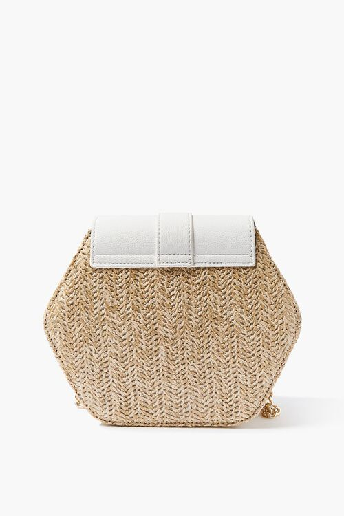 WHITE Basketwoven Hexagon Crossbody Bag, image 4