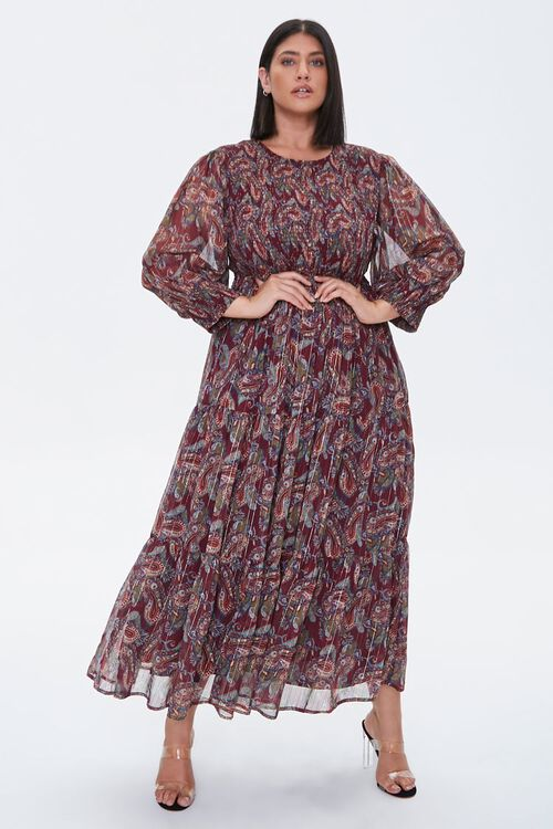 Plus Size Paisley Smocked Dress, image 4