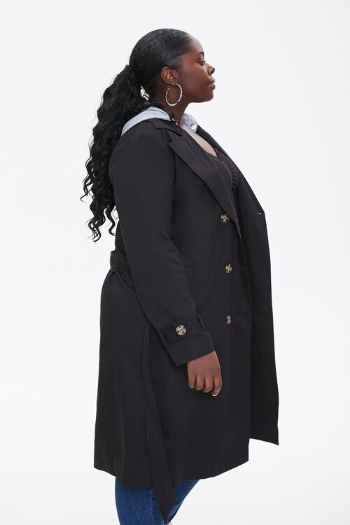 Plus Size Hooded Double-Breasted Trench Coat, image 2