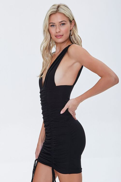 Plunging Ruched Mini Dress, image 2