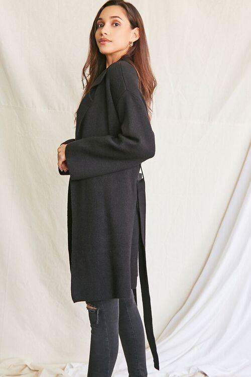 BLACK Belted Longline Cardigan Sweater, image 2