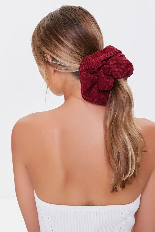 BURGUNDY Oversized Ribbed Scrunchie, image 1