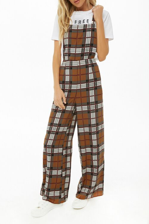 Plaid Print Pinafore Jumpsuit, image 1