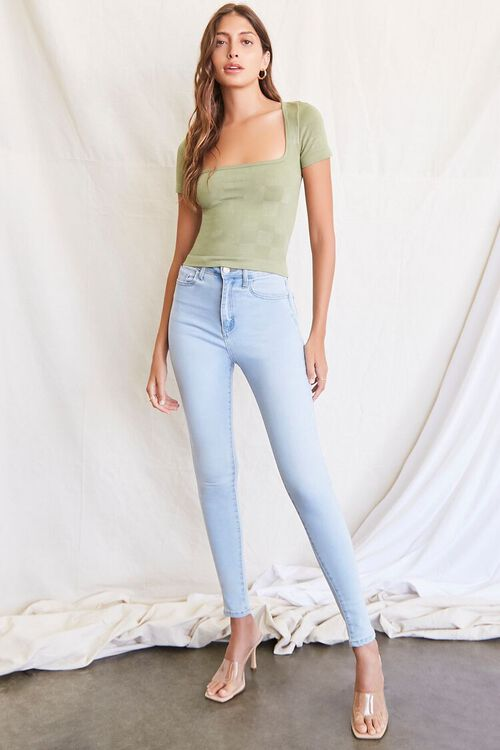 LIGHT OLIVE Seamless Checkered Top, image 4