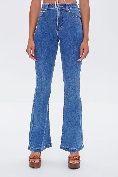 MEDIUM DENIM Clean Wash Flare Jeans, image 2