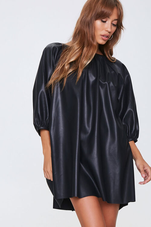 Faux Leather Shift Dress, image 1