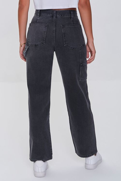 WASHED BLACK High-Rise Cargo Jeans, image 4