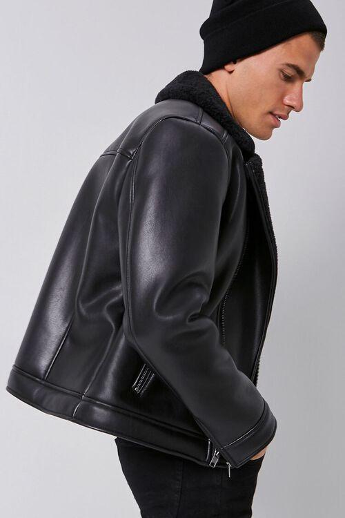 Faux Leather & Faux Shearling Moto Jacket, image 2