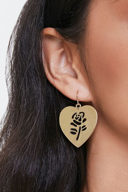 Rose Cutout Heart Earrings, image 1