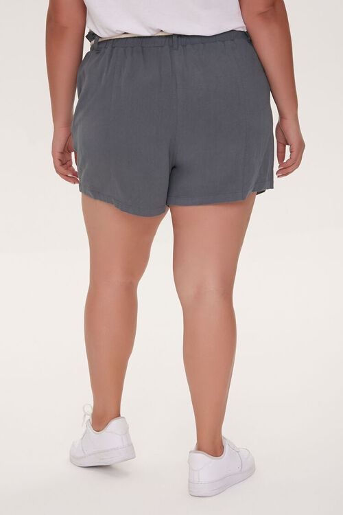 Plus Size Rope Belt Paperbag Shorts, image 4