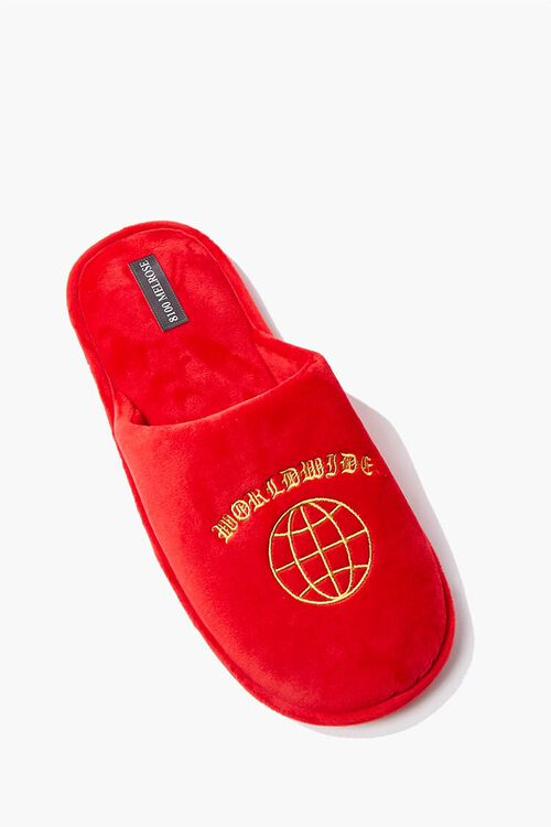 RED/ORANGE Men Worldwide Embroidered Graphic Slippers, image 1