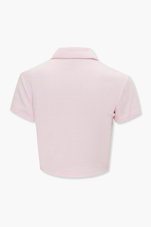 Peach Graphic Cropped Polo Shirt, image 3