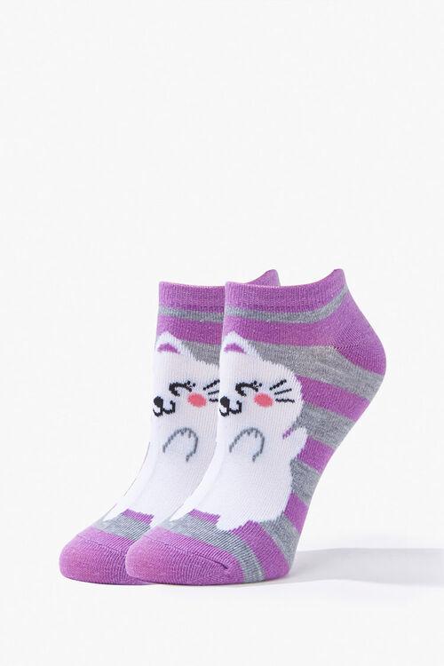 PURPLE/MULTI Unicorn Cat Ankle Socks, image 1