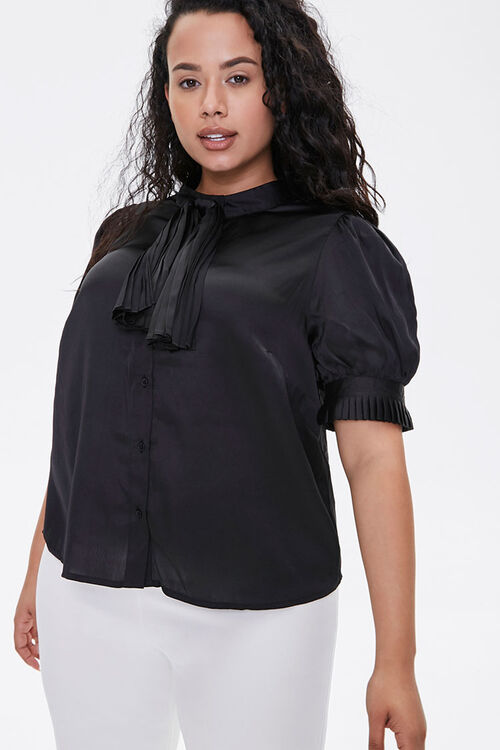 Plus Size Satin Bow-Neck Top, image 1