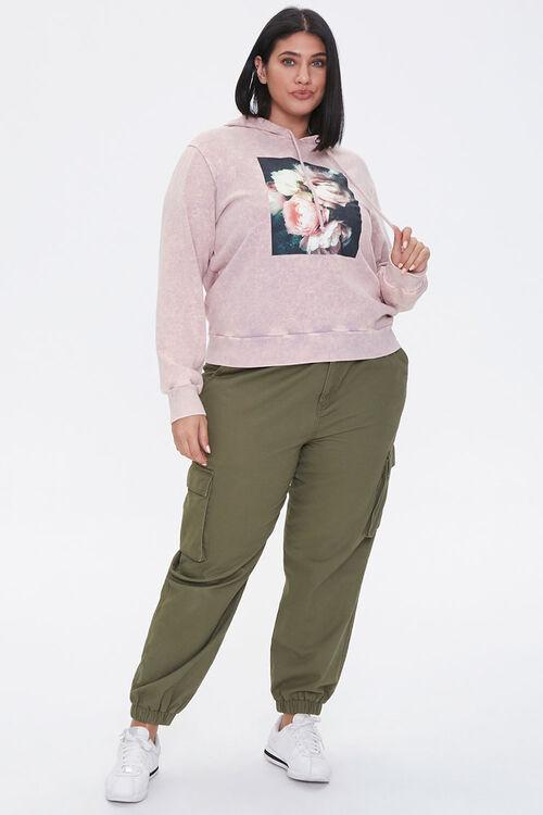 LAVENDER/MULTI Plus Size Floral Graphic Hoodie, image 4