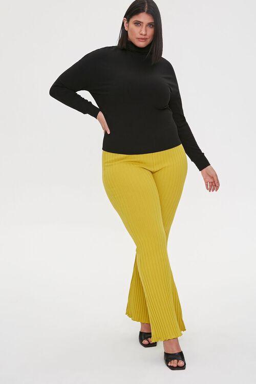 Plus Size Ribbed Flare Pants, image 1