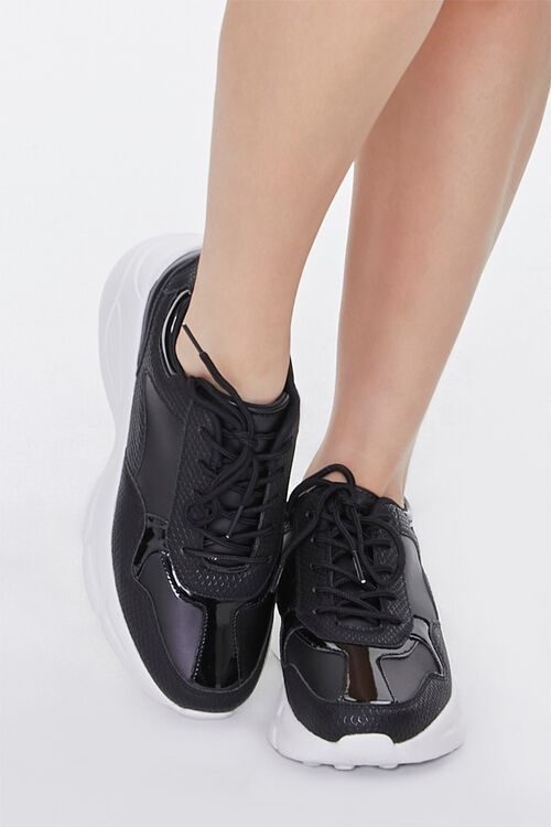 Faux Leather Low-Top Sneakers, image 4