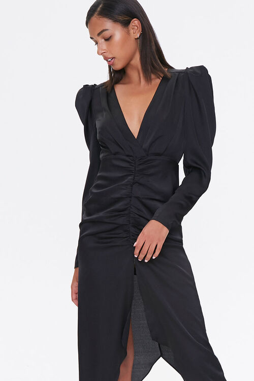 Ruched Puff-Sleeve Midi Dress, image 4
