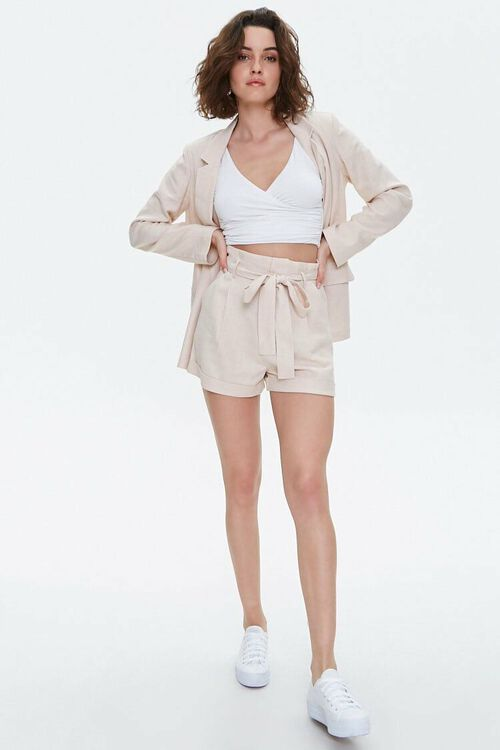 BEIGE Cuffed Belted Paperbag Shorts, image 5