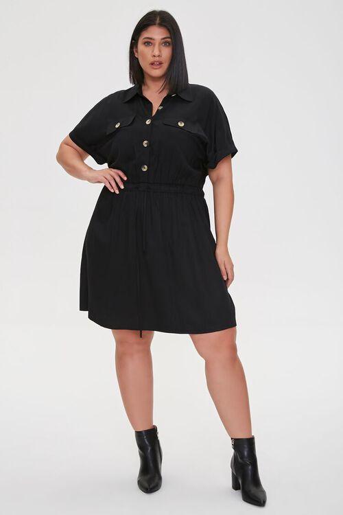 Plus Size Tie-Waist Shirt Dress, image 4