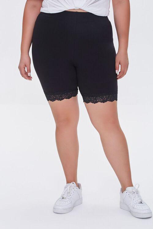BLACK Plus Size Lace-Trim Biker Shorts, image 2