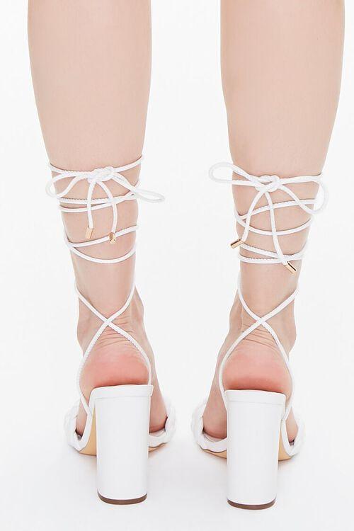 WHITE Braided Wraparound Block Heels, image 3