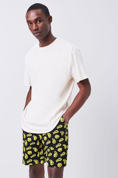 BLACK/YELLOW Smiling Face Print Drawstring Shorts, image 6