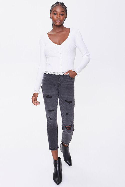 Ribbed Lace-Trim Cardigan, image 4