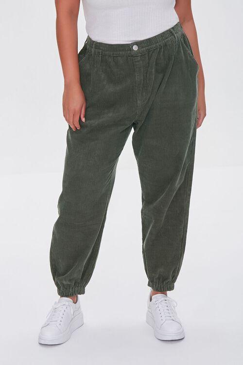 OLIVE Plus Size Corduroy Pocket Joggers, image 2