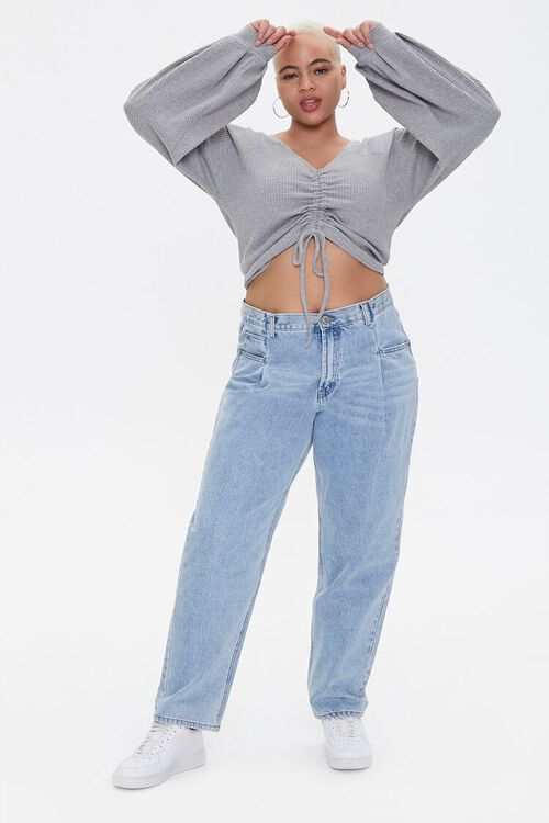 Plus Size Ruched Balloon-Sleeve Crop Top, image 4