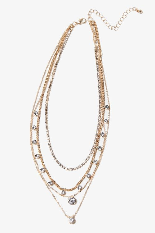 GOLD/CLEAR Rhinestone Pendant Layered Necklace, image 3