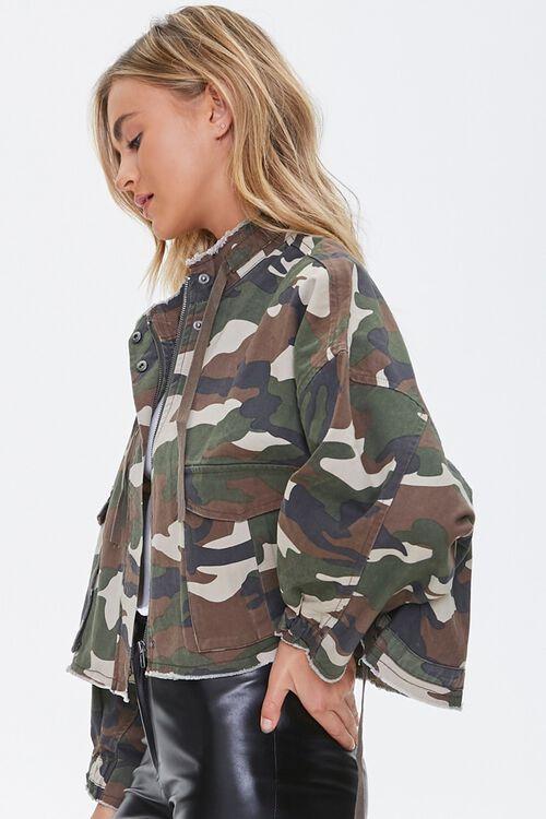 OLIVE/MULTI Frayed Camo Print Jacket, image 2