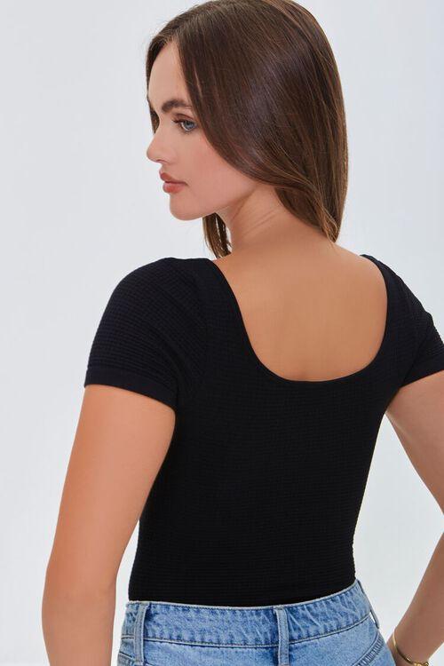 BLACK Waffle Knit Scoop-Neck Bodysuit, image 3