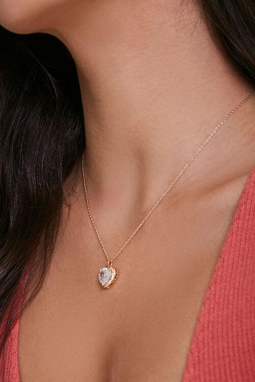 Faux Gem Heart Charm Necklace, image 2