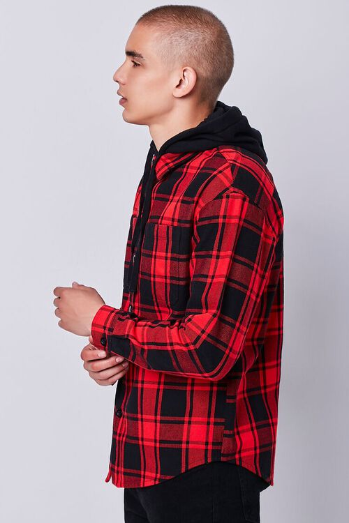 Plaid Buttoned Flannel Hoodie, image 2