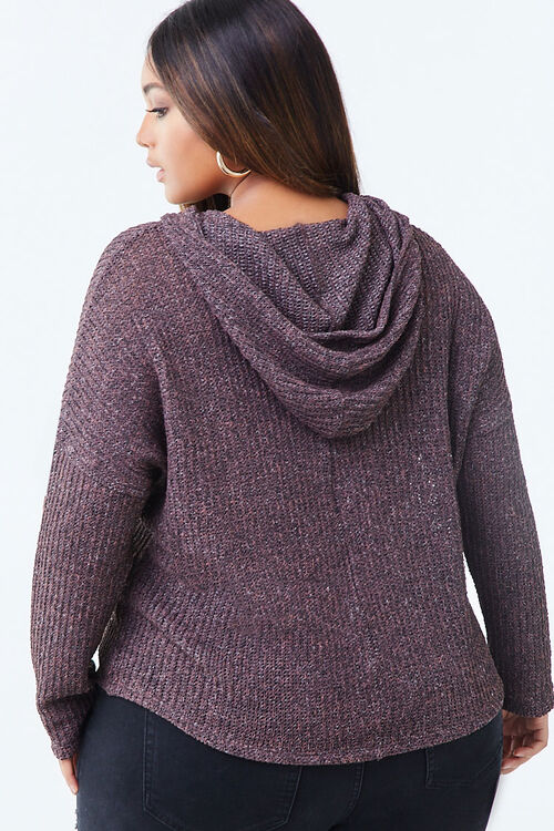 Plus Size Hooded Marled Top, image 3