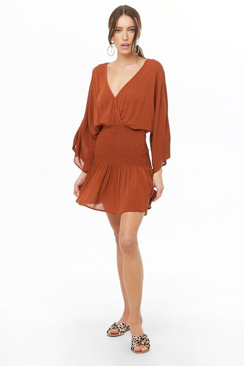 Smocked Surplice Mini Dress, image 4