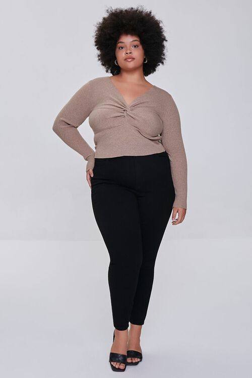 OATMEAL Plus Size Twisted Sweater, image 4