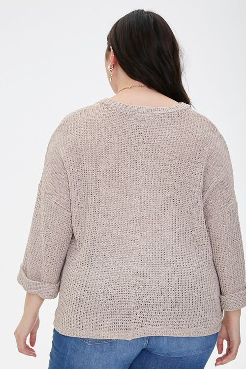 Plus Size Ribbed Marled Knit Top, image 3