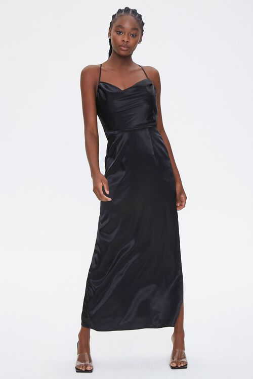 Satin Cowl Neck Maxi Dress, image 2