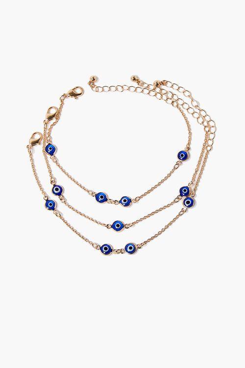 GOLD/BLUE Evil Eye Charm Bracelet Set, image 3