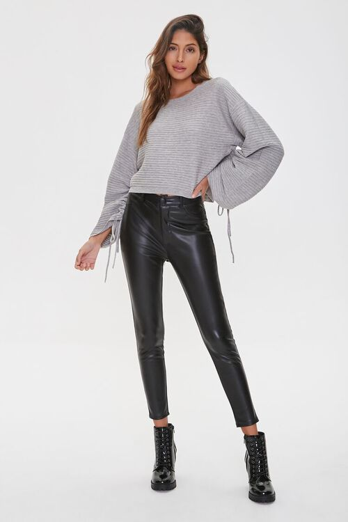 Ribbed Ruched-Sleeve Sweater, image 4