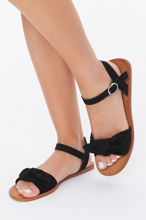 Faux Suede Knotted Sandals, image 1