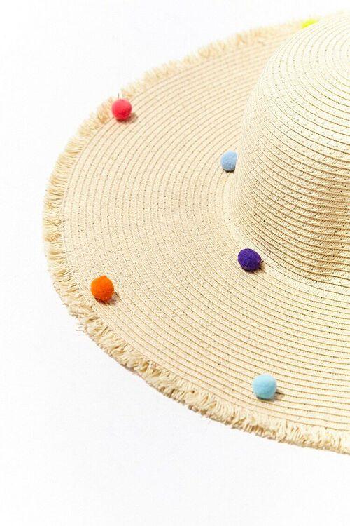 Straw Pom Pom Boater Hat, image 2