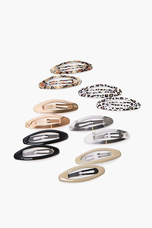 TAUPE/MULTI Animal Print Snap Hair Clip Set, image 1
