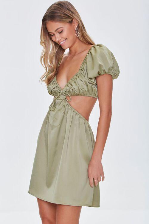 SAGE Satin Puff Sleeve Mini Dress, image 1