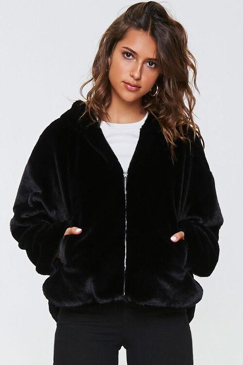 Plush Faux Fur Zip-Up Hoodie, image 5